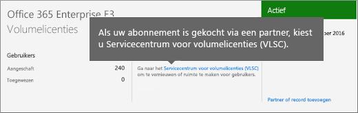 Koppeling voor het Servicecentrum Volumelicenties (VLSC).