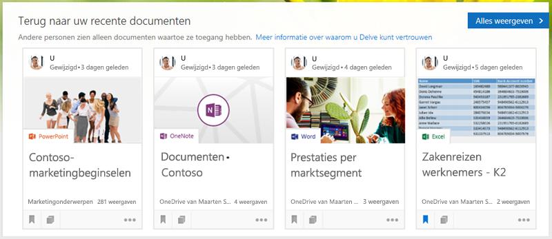 Klik op een document om het te openen of klik op Alles weergeven als u meer documenten wilt bekijken