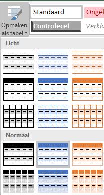 Stijlengalerie-selecties in Excel voor Opmaken als tabel
