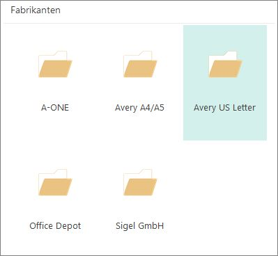 Briefkaartsjablonen voor specifieke fabrikanten, zoals Avery.