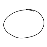 Geeft een met de hand getekende ellips weer.