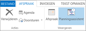 Knop Planningsassistent in Outlook 2013.