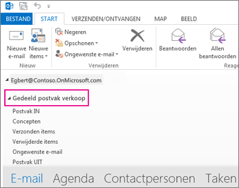 gedeeld postvak wordt weergegeven in de mappenlijst in outlook