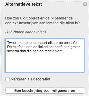 Alternatieve tekst in PowerPoint voor Mac
