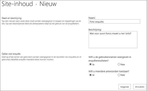 Dialoogvenster Nieuwe enquête met ingevulde tekstvakken.