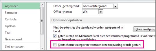 Optie in Excel voor het verbergen van het startscherm na het openen van Excel