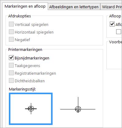 Schakel het selectievakje bijsnijdmarkeringen op het tabblad markeringen en afloop