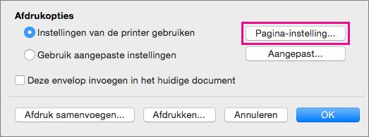 Klik op Pagina-instelling om een envelopformaat en lay-out te selecteren uit de door uw printer aangeboden configuraties.