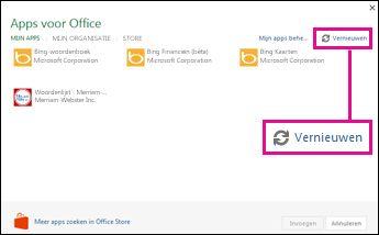 Knop Vernieuwen van Apps voor Office
