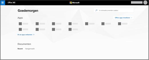 De startpagina van Office 365