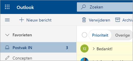 Een schermafbeelding van Mail in de bètaversie van Outlook op het web