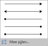 Klik op Meer pijlen onder aan het menu Pijlen.