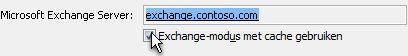 Het selectievakje Exchange-modus met cache gebruiken
