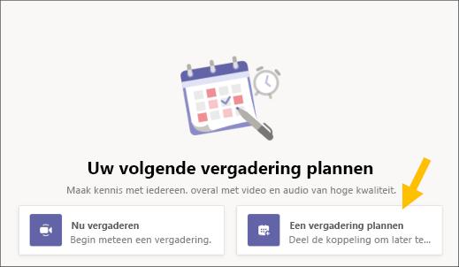 Knop Een vergadering plannen selecteren