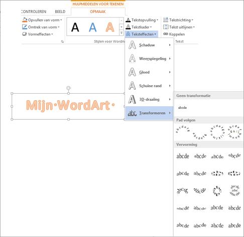 Teksteffecten op het tabblad Hulpmiddelen voor tekenen - Opmaak terwijl de galerie Transformeren is geopend