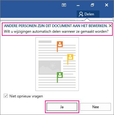 Prompt Andere personen bewerken dit document momenteel wordt weergegeven vanuit opdracht Delen