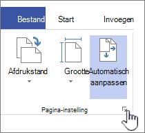 Klik op het pictogram in de hoek van de sectie pagina-instelling