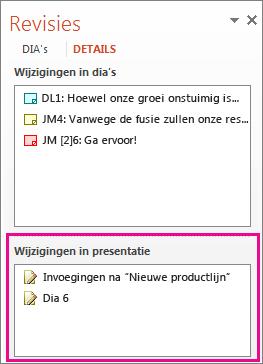 Wijzigingen in presentatie