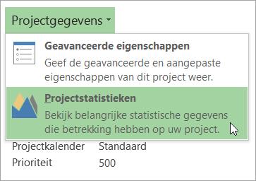 Opties voor gegevens van project