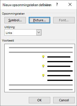 Schermafbeelding van nieuwe opsommingstekens met afbeelding geselecteerd