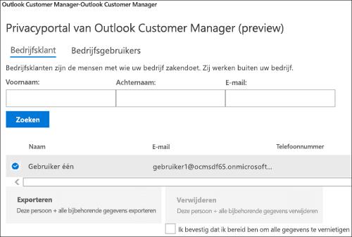 Schermafbeelding: Exporteren Outlook Customer Manager klantgegevens