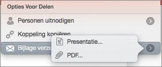 Opties voor e-mail delen in PowerPoint voor Mac