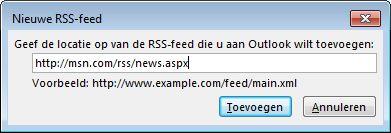 De URL voor de RSS-feed invoeren