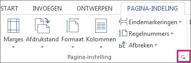 Knop om het dialoogvenster Pagina-indeling te openen