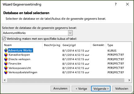 Wizard Gegevensverbinding > database en tabel selecteren