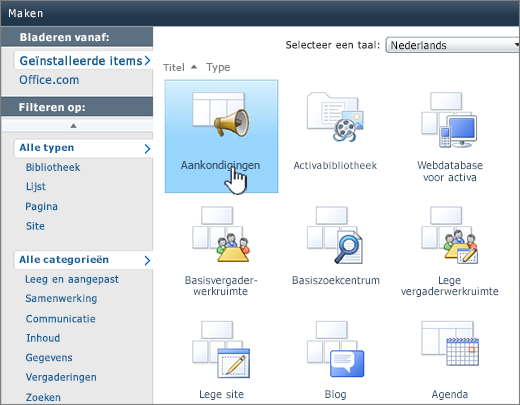 Pagina Lijst maken of Bibliotheek maken in SharePoint 2010 met gemarkeerde aankondigingen