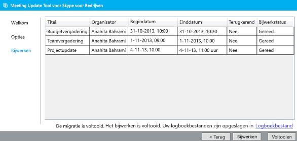 schermafbeelding van voltooid migratiehulpmiddel voor vergaderingen