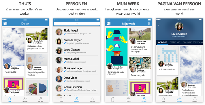 Vier schermen van Delve voor iPhone met beschrijvende tekst
