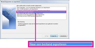 De optie Exporteren naar bestand in de wizard Importeren en exporteren