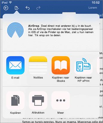 Gebruik het dialoogvenster Openen in andere app om een document naar een andere app te versturen en daar vervolgens per e-mail te verzenden, af te drukken of te delen.