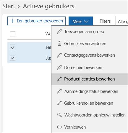 Alle gebruikerslicenties verwijderen via het Office 365-beheercentrum