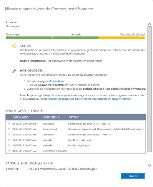 Schermafbeelding van de pagina met details over berichttracering met een voorbeeld van hoe die details eruit zien.