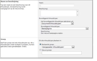 Venster Nieuw site-inhoudstype