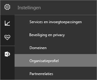 Schermopname van het menu Instellingen waarbij Organisatieprofiel is geselecteerd