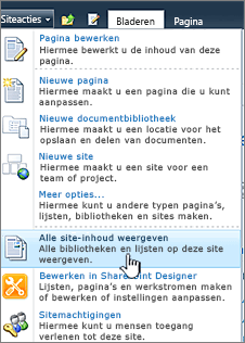 Alle site-inhoud weergeven in het menu Siteacties