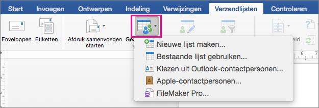 Op het tabblad Verzendlijsten is Geadresseerden selecteren gemarkeerd met een lijst met opties