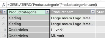 Berekende kolom Productcategorie
