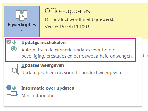 Updates inschakelen in Word