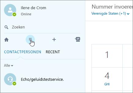 Schermafbeelding waarin wordt aangegeven waar u kunt bellen met Skype