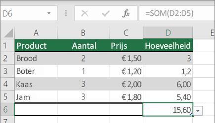 Een voorbeeld van een functie SOM met een benoemd bereik