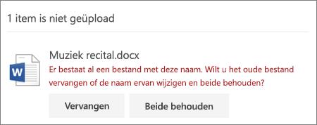 Fout 'bestandsnaam bestaat al' in OneDrive web-gebruikersinterface