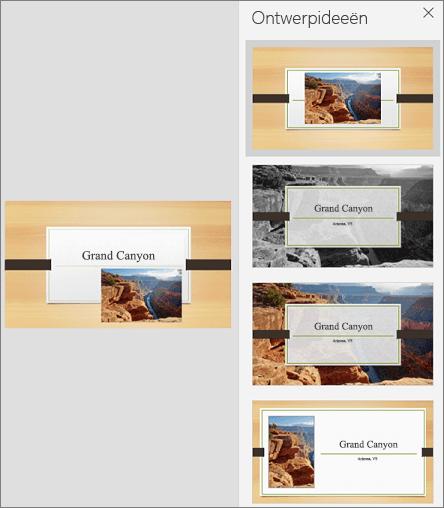 Voorbeeld van de mobiele versie van PowerPoint Designer