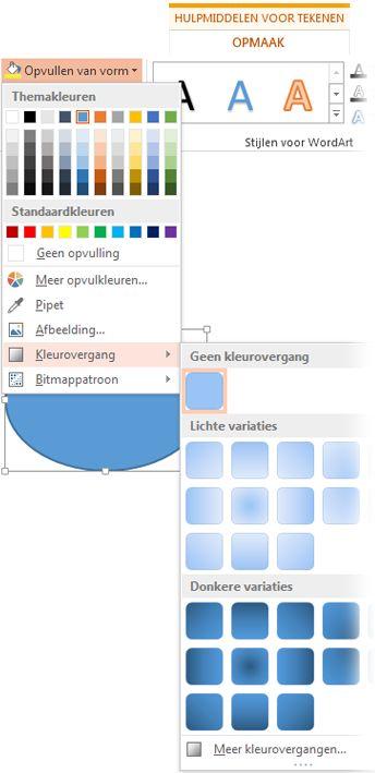 galerie met kleurovergangen geopend via opvulling van vorm bij opmaak onder hulpmiddelen voor tekenen