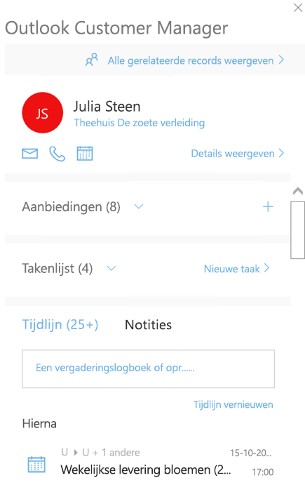 Het welkomstscherm van Outlook Customer Manager