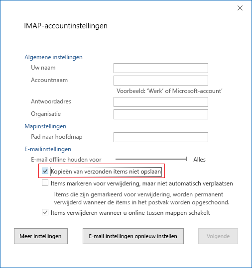 Instellingen voor IMAP-accounts, Kopieën van verzonden items niet opslaan