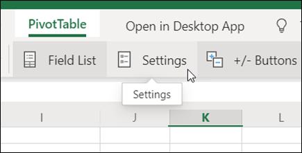 De knop instellingen op het tabblad Draaitabel in de webversie van Excel